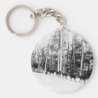 Alaska Dog Sledding Basic Round Button Keychain