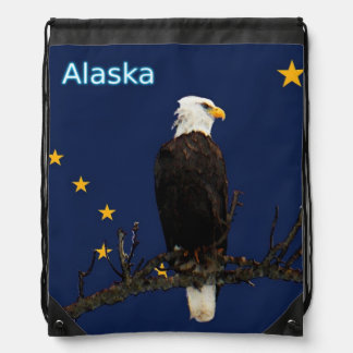 Alaska Eagle And Flag Drawstring Backpack