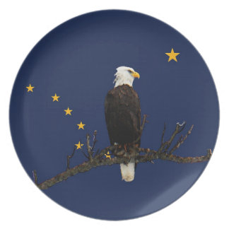 Alaska Eagle And Flag Melamine Plate