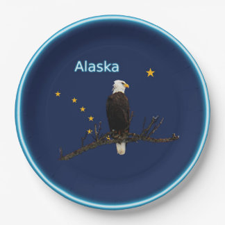 Alaska Eagle And Flag Paper Plate