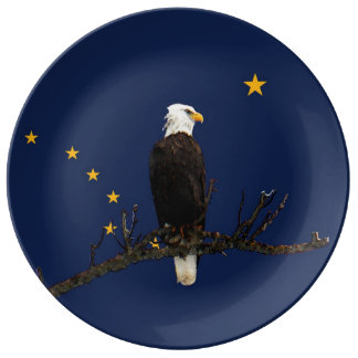 Alaska Eagle And Flag Porcelain Plate