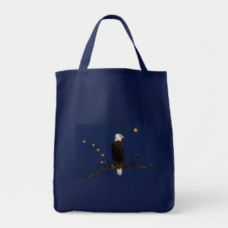 Alaska Eagle And Flag Tote Bag