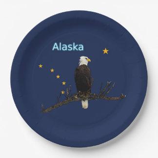 Alaska Eagle y bandera Plato De Papel De 9 Pulgadas
