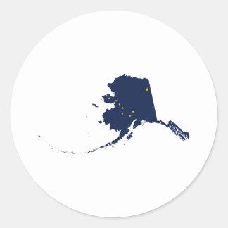 Alaska en azul y oro pegatina redonda