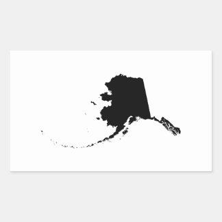 Alaska en negro pegatina rectangular