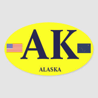Alaska* Euro Style Bumper Oval Bumper Sticker* Oval Sticker