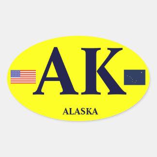 Alaska* Euro Style Bumper Oval Bumper Sticker* Oval Sticker