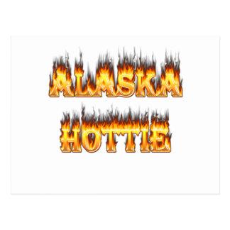 Alaska fire and flames hottie design postcard