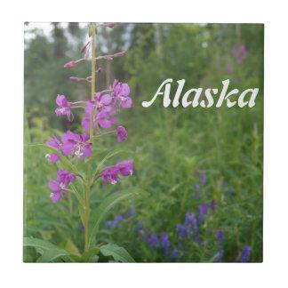 Alaska Fireweed wildflower Ceramic Tile