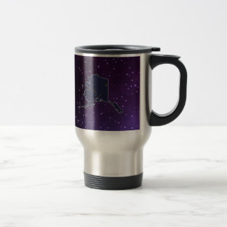 Alaska Flag Map on abstract space background 15 Oz Stainless Steel Travel Mug