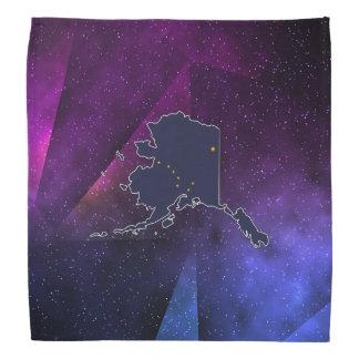Alaska Flag Map on abstract space background Bandana