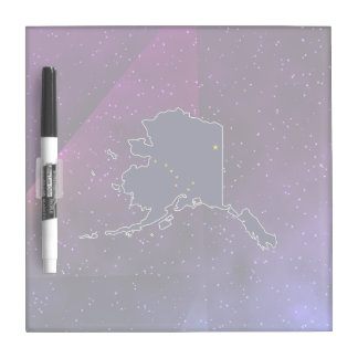 Alaska Flag Map on abstract space background Dry-Erase Boards