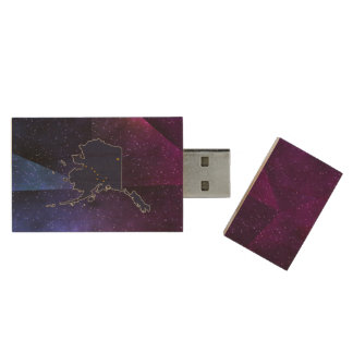Alaska Flag Map on abstract space background Wood USB 2.0 Flash Drive