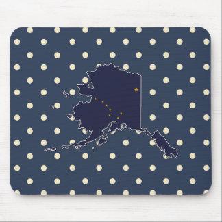 Alaska Flag Map on Polka Dots Mouse Pad