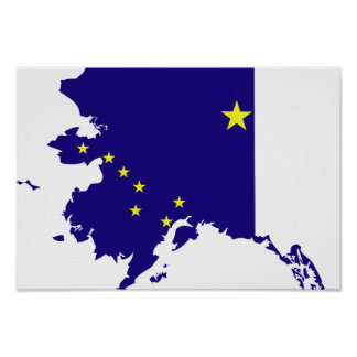 Alaska Flag Map Poster