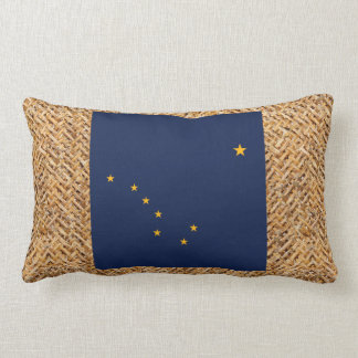 Alaska Flag on Textile themed Throw Pillow