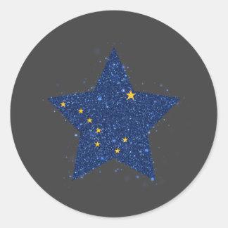 Alaska Flag Star Shining Classic Round Sticker
