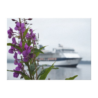 Alaska flowers and cruise ship canvas print