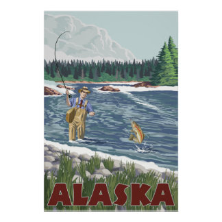 Alaska - Fly Fisherman Poster