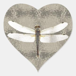 Alaska Four Spot Skimmer Dragonfly Heart Sticker