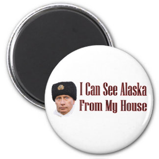 Alaska from my house 2 inch round magnet