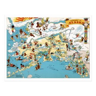 Alaska Funny Vintage Map Postcard