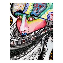 artsprojekt, cold, hat, bonnet, woman, female, contemporary, portrait, painting, winter, art, modern, alaska, girl, fur, Postcard with custom graphic design