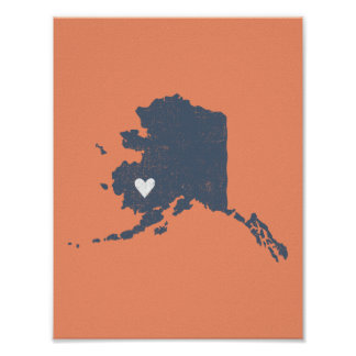 Alaska Heart poster (gray) - Customizable!