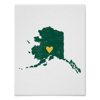 Alaska Heart poster (green/yellow) - Customizable!