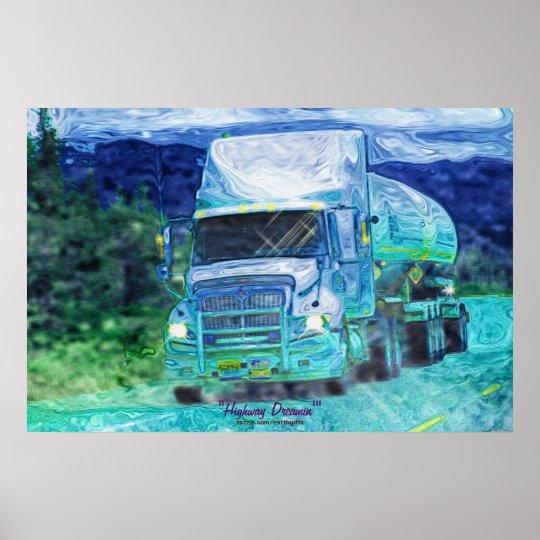 Alaska Highway Cargo Truck Transport Art Poster