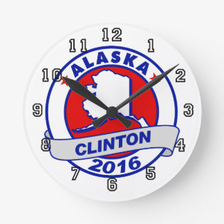 alaska Hillary Clinton 2016.png Round Wallclocks