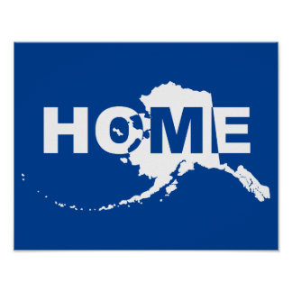 Alaska Home Away From State Poster Sign