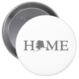 Alaska Home Word with State Shape O Button