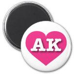 Alaska hot pink heart - Big Love 2 Inch Round Magnet