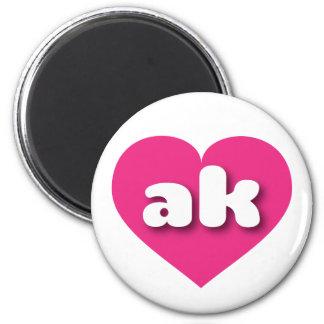 Alaska hot pink heart - mini love 2 inch round magnet