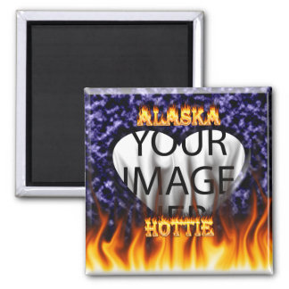 Alaska Hottie fire and flames Blue marble. 2 Inch Square Magnet