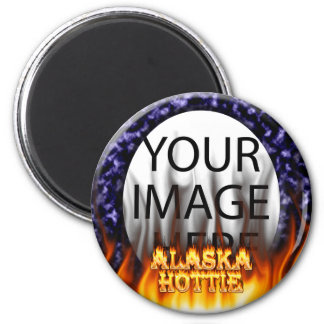 Alaska Hottie fire and flames Blue marble. Magnet