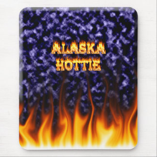 Alaska Hottie fire and flames Blue marble. Mouse Pad