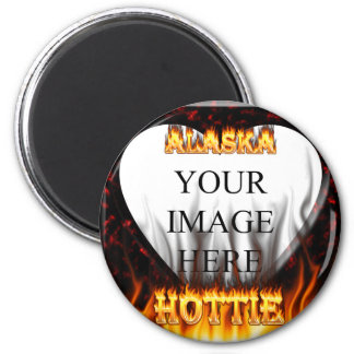Alaska hottie fire and flames red marble 2 inch round magnet