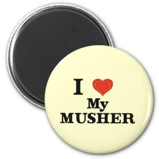 Alaska I Love My Musher 2 Inch Round Magnet