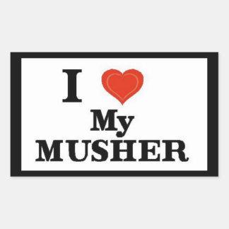 Alaska I Love My Musher Rectangular Sticker