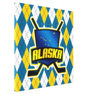 Alaska Ice Hockey Flag Box Canvas