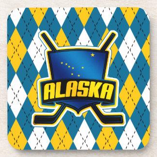 Alaska Ice Hockey Flag Cork Coasters