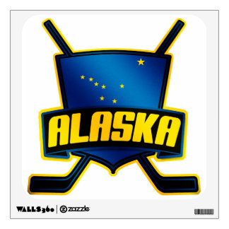 Alaska Ice Hockey Flag Wall Sticker