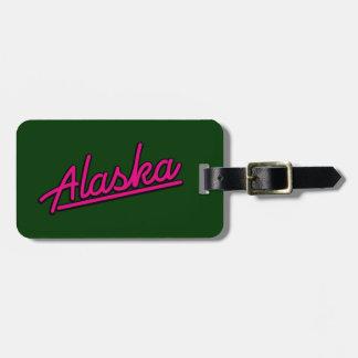 Alaska in magenta bag tag