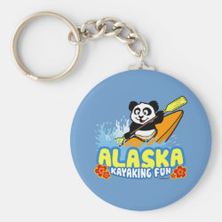 Basic Button Keychain with Alaska Kayaking Fun design