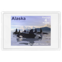 Alaska Killer Whales Stamp Acrylic Tray