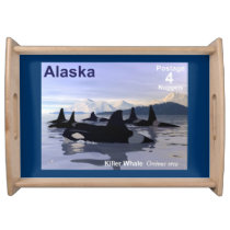 Alaska Killer Whales Stamp Serving Tray