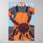 Alaska - King Crab and Fisherman Poster