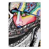 artsprojekt, cold, hat, bonnet, woman, female, contemporary, portrait, painting, winter, art, modern, alaska, girl, fur, Card with custom graphic design